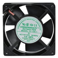 View CMWLTH FP-108-1-S1/T-R: Fan 115VAC 105 CFM 120X120X38 Sleeve Bearings Terminal