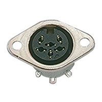 View 02-453-R: 6 Pin Female DIN Socket Panel Mount