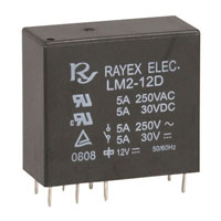View LM2-12D-R: Small PC Mount Relay Contact Form: DPDT