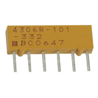 View 4306R-101-104LF: Resistor Thick Film Network 100K Ohm 2% 0.75W (3/4W) ±100PPM/C Bus Molded 6 Pin SIP Pin Thru-Hole