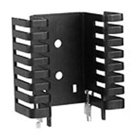 View 7023B-MTG: Heat Sink Passive TO-220 Folded Back Solderable Tabs 4.4°C/W Black Anodized
