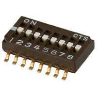 View 218-8LPST: Slide DIP SWITCH-8 Switches Single Pole Single Throw Latched 0.1A 50VDC