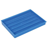 View BTV-001A: Bug Tray Blue Vertical Ribs 5 Compartments no Lid