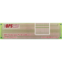 View BR1: Solderable PC Breadboard 1 Sided PCB Matches 830 Tie Point Breadboard with Power Rails