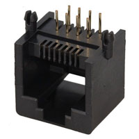 View MTJ-882BX1: Black Side Entry 8 Position 8 Contact (8P8C) RJ45 Modular Ethernet Jack