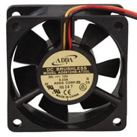 View AD0612HB-A72GL: AD 12VDC 23.2 CFM Ball DC Fan with 3-12 Inch Leads 60 X 60 X 25 Mm