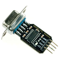 View DFR0077: RS232 Ttl Converter 4 Pin Connector -Gnd, Logic out (Stx), +5V, Logic in (Srx)