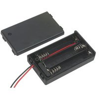 View SBH-431-1AS-R: Battery Holder 3 AAA Wires with Cover and Switch