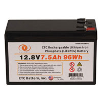 View LFP128075: 12.8V 7.5AH 96WH Lithium Iron Phosphate (LIFEPO4) Rechargeable Battery