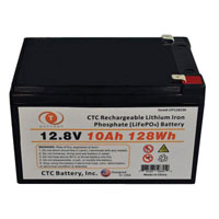 View LFP128100: 12.8V 10AH 128WH Lithium Iron Phosphate (LIFEPO4) Rechargeable Battery
