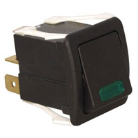 View K2ABHLCADA: Dpst Rocker Switch with Green LED Rating: 16A @ 125/250VAC
