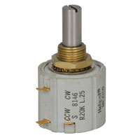 View 8146R20K-L.25: POT 7/8 DIA 10 Turn 20K 2W 10% (Potentiometers)