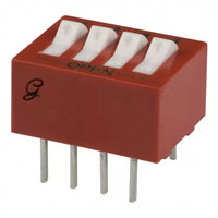 View 76SB04T: DIP Switch 4 Position on off Single Pole 0.15 Amp @ 30 Volt Raised Rocker