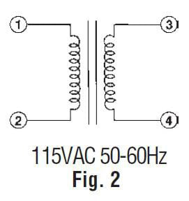 112512 R Power Transformer 24VAC 2A 117VAC Wire Leads 112513 on dual voltage transformer wiring diagram