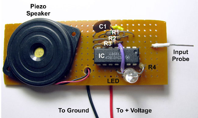 Layout for an assembled version of the dual output voltage probe