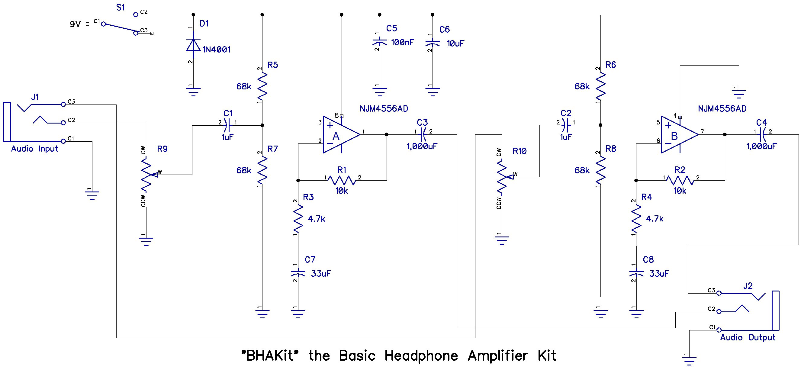 Basic Headphone Amplifier Kit Simple Electronic Circuit Design Projects Click To Enlarge