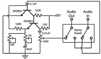 build your own guitar fuzz pedal Full Boost Schematic circuit schematic
