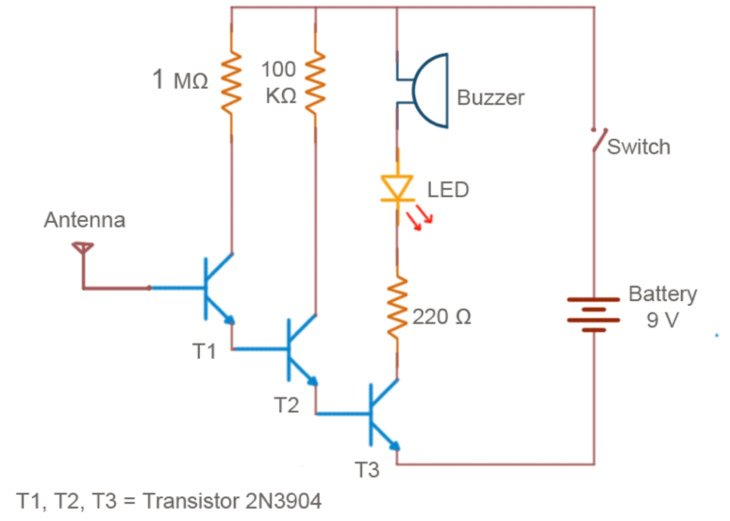 build your own non contact voltage detector transistor circuit diagram