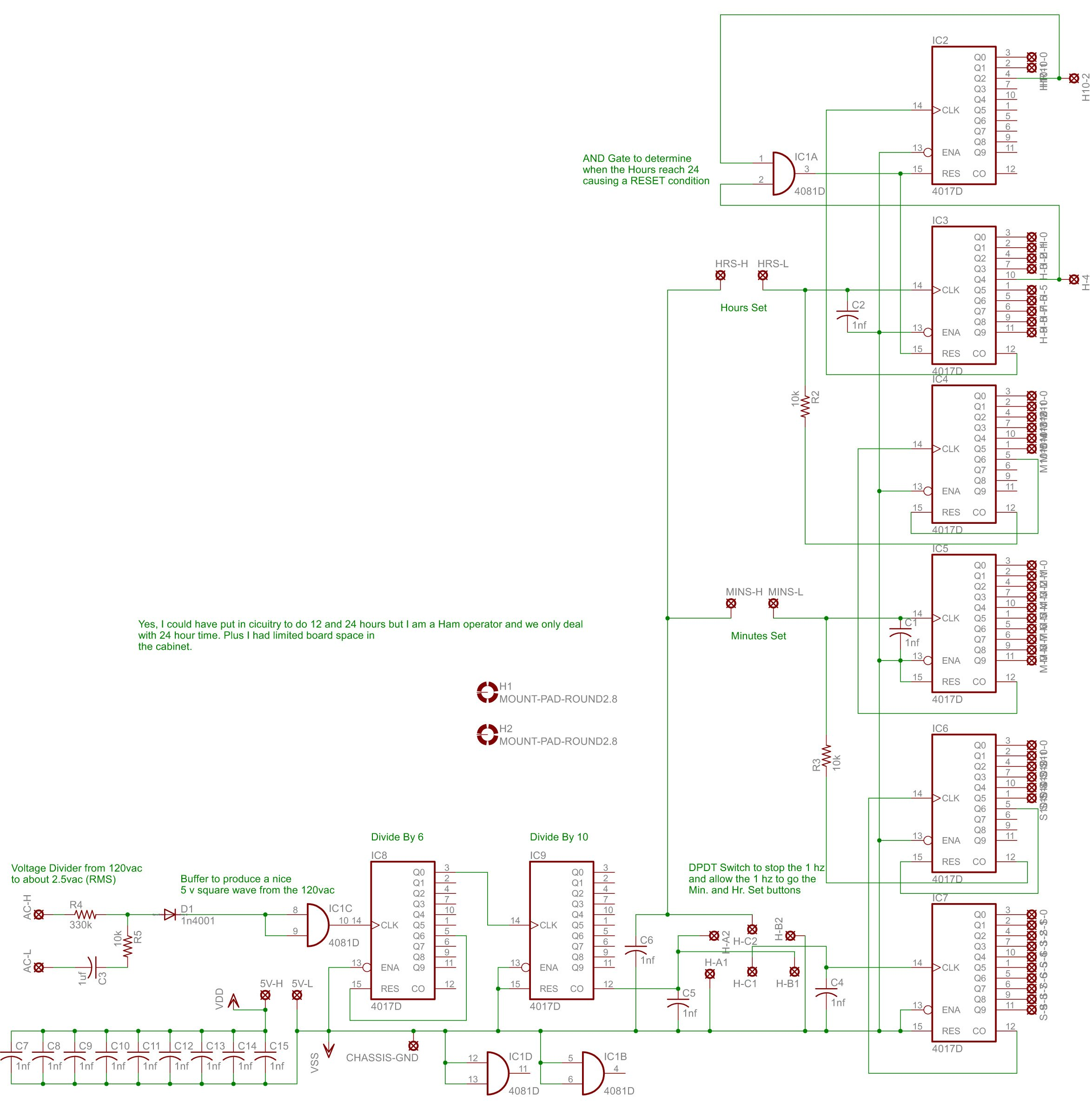 Nixie Clock Project Circuit Diagram (click to enlarge)