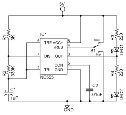 complete 555 square wave oscillator circuit with start/stop switch