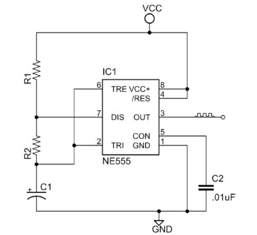 basic 555 astable multivibrator circuit