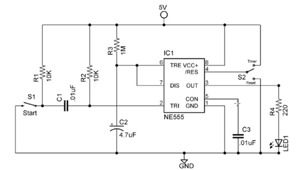 Complete 555 timer circuit reset switch